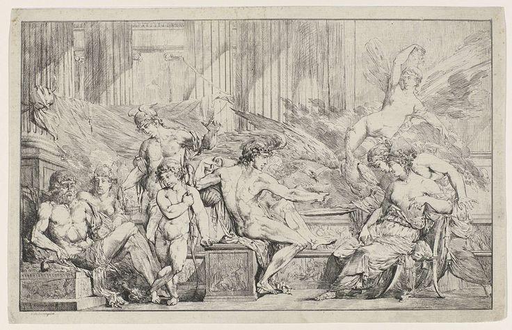 Philippe Auguste Hennequin | Godenbanket, Philippe Auguste Hennequin, c. 1795 - c. 1798 | Banket der goden met van links naar rechts Jupiter en Hera, Mercurius, Cupido, Bacchus - die de adelaar van Jupiter en de pauw van Hera te drinken geeft - Iris  en twee vrouwelijke godinnen.