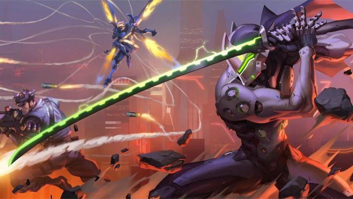 Download Overwatch Genji Pharah Wallpaper Art 4K 3840x2160