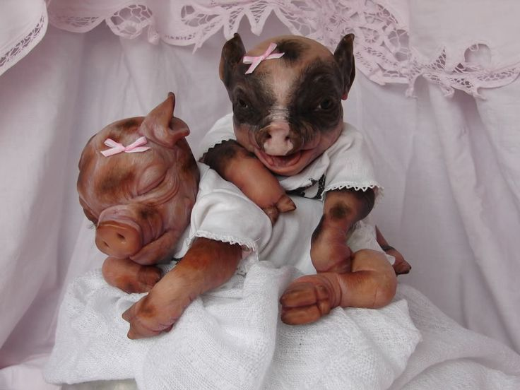 Hand Sculpted Ooak Polymer Clay Potbelly Piglets Sold