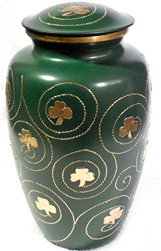 Shamrock Cremation Urn - Clover Funeral Urn in Irish Green - Burial Urn for Human Ashes - Detailed Hand Engraving - 100% Brass