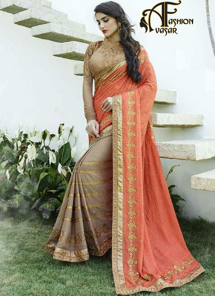 buy plain chiffon sarees online india.Make the heads flip as soon as you costume up with this appealing Tomato & Rosy Brown Chiffon Saree. The ethnic Resham