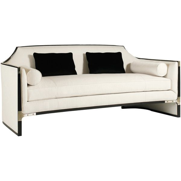Octavio Modern Black Tuxedo Trim Ivory Sofa ($3,655) ❤ liked on Polyvore featuring home, furniture, sofas, modern sofa, modern furniture, mod sofa, ivory sofa and black and white couch