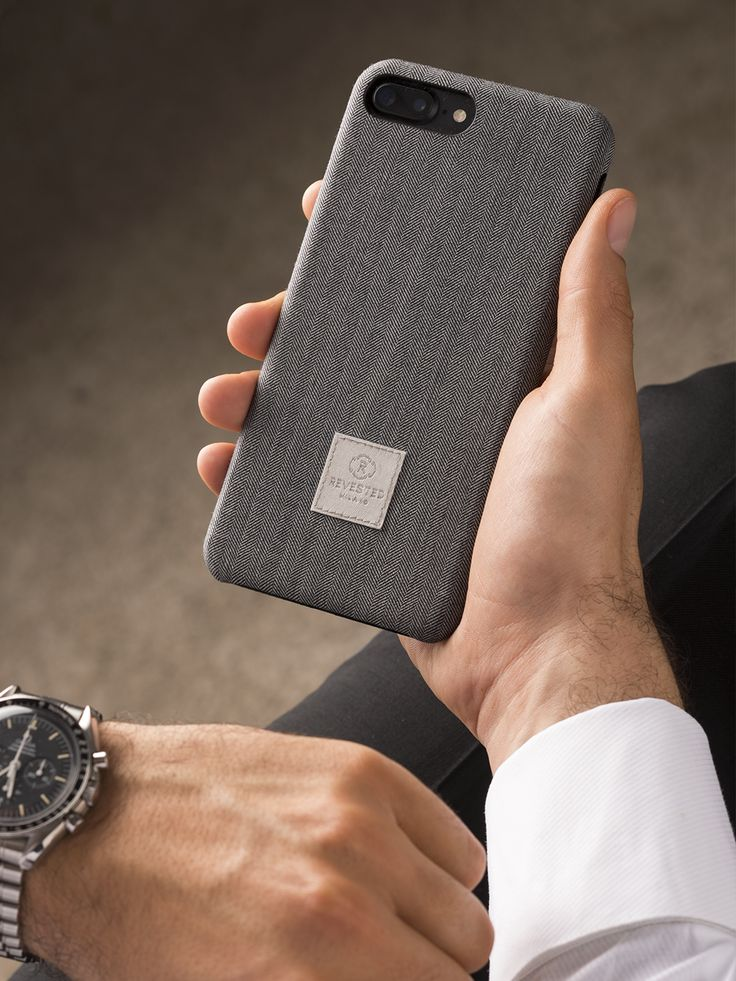 Revested iPhone 7 Plus Case - Herringbone. Made with the finest fabrics for tailor made suits, Revested cases dress your iPhone in classic style and sophistication. The iconic fabric is 100% Made in Italy and it's crafted to perfectly fit every smartphone detail for a superior style.