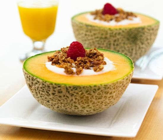 Healthy Breakfast Idea: Yogurt-Filled Cantaloupe - How cool would this be for a sleepover bfast party (for the adults)?