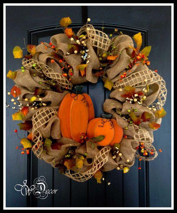 Fall Wreaths / Autumn Wood Pumpkin Burlap Wreath by JWDecor