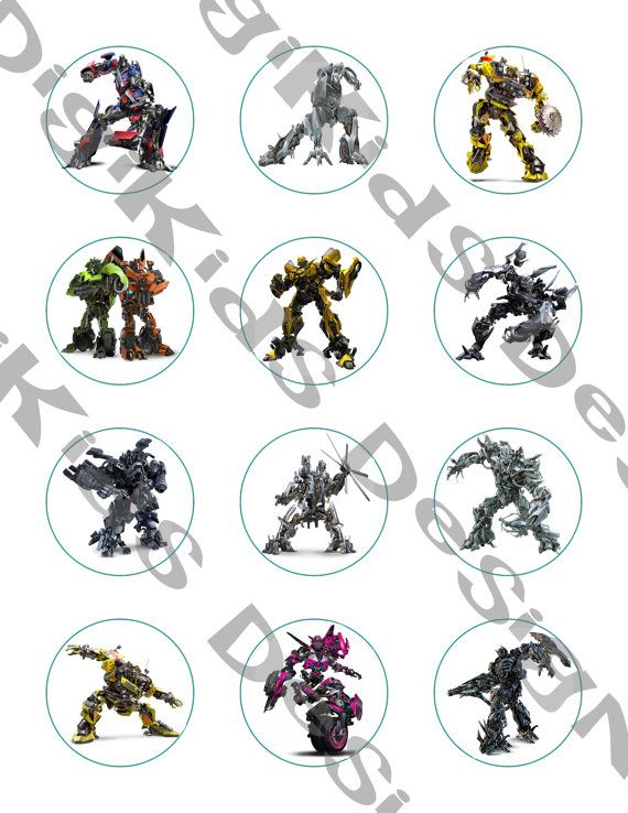 12 Transformers Stickers or Cupcake Toppers. Instant download. Use these as a favor or cupcake topper. This listing is for a downloadable jpeg Use promo code for 20% off: PIN20