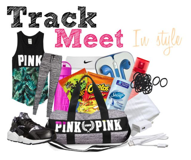 """""""Wanna be in style for your next track meet? Here's some tips on what to pack and wear """" by pieuxlee on Polyvore featuring NIKE, Aquolina, Fieldcrest, Victoria's Secret, Zoe Karssen, Samsung, women's clothing, women, female and woman"""