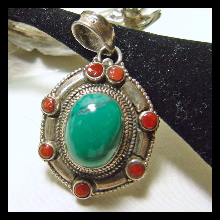 Six Sided Sterling Silver Pendant with Tibetan Turquoise and Red Coral