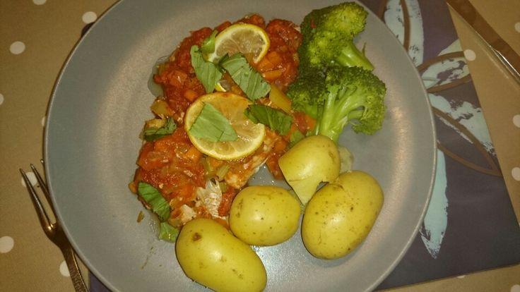 Fabulous Free Food February. Haddock Plaki with new potatoes and broccoli