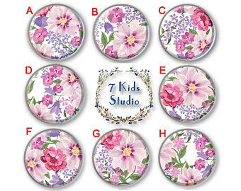 Flowers Pink Purple Nursery Dresser Knob Drawer Pull Handle Dresser Cabinet Porcelain Dinning Room Ceramic Furniture Hardware