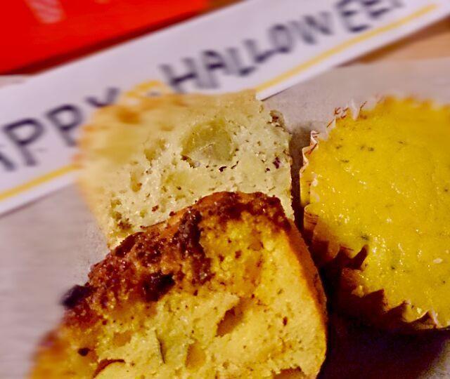 """""""Trick but treat♡"""" お菓子くれても悪戯するぞ(*´`)♡ぇ  学校に持ってったら素早く完売!! 嬉しかった(//∇//)  *かぼちゃケーキ* *さつまいもケーキ* *かぼちゃプリンケーキ*  3つ作って、さつまいもケーキが人気でした♡ - 21件のもぐもぐ - *かぼちゃプリンケーキ* *さつまいもケーキ* *かぼちゃケーキ* by 1214pp"""
