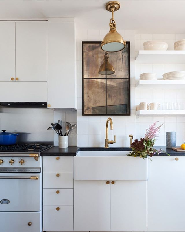 white + brass - love the aged mirror too #interior #kitchen #house