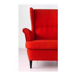 STRANDMON Wing chair - Skiftebo orange - IKEA. Looks much more design-y and expensive than the $279 price would suggest.