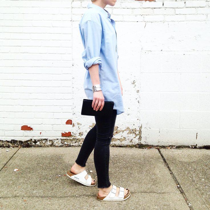 Oversized men's shirt and white Birkenstocks. -Fashionably.fit