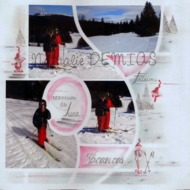 Une page hivernale avec le gabarit Azza Madrid-Sydney et les décors (tampons, décors de page) Azza réalisée par Nathalie DEMIAS