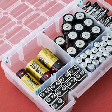 Batteries die at the most inconvenient times. Keep a stock of all sizes on hand and store them in an easy-to-organize plastic bin. Lidded boxes made specifically for this use are available but you can also adapt divided plastic boxes made for tool, craft, and sewing supplies. Use stick-on letters from the scrapbooking aisle of the craft store to label the battery size on each compartment of the box. :: not a bad idea.