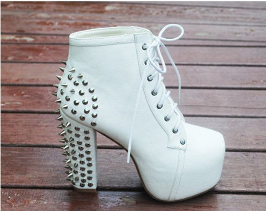 35-41 Plus Size Lace Up Spring High Heels Women Boots Fashion Lita botas Punk Women Leather Platform Ankle Motocycle Boots