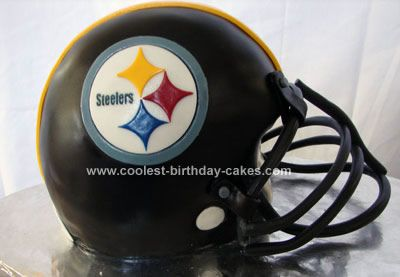 Homemade Football Helmet Cake: A co-worker asked my wife if I could make a Steelers Homemade Football Helmet Cake for her son's birthday. My wife said Probably, he never made one before.