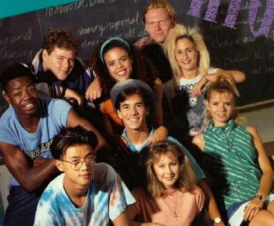 Degrassi High  Left to right (Top): Wayne; Lucy; Archie (Snake); Christine (Spike)  Middle: Bryant (BLT); Joey; Liz  Bottom: Yik; Caitlin