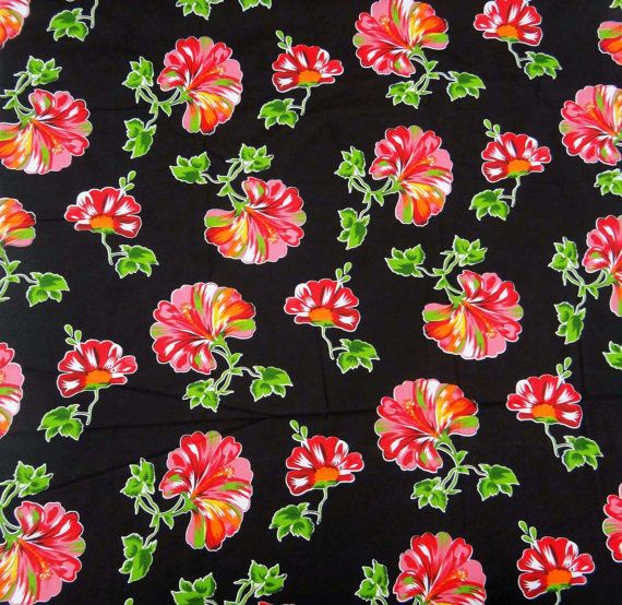 Pure Cotton Indian Fabrics Floral Printed Pattern Black Color