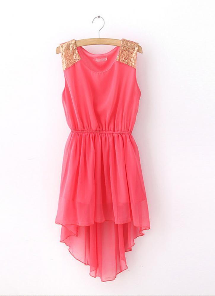 Sleeveless Chiffon Featuring Sequin Dress