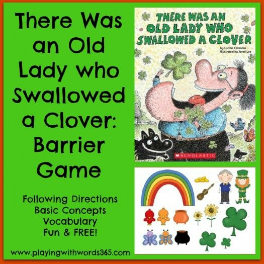Old Lady who Swallowed a Clover Barrier Game. FREE!