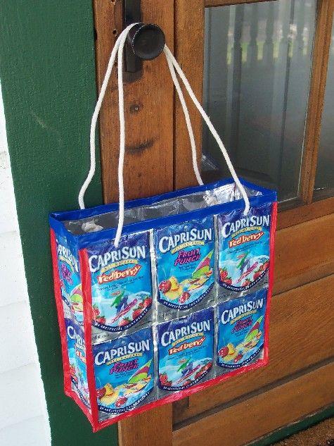 No-sew Capri Sun bag.  I LOVED this project! Still have Capri Sun pouches left over, too!