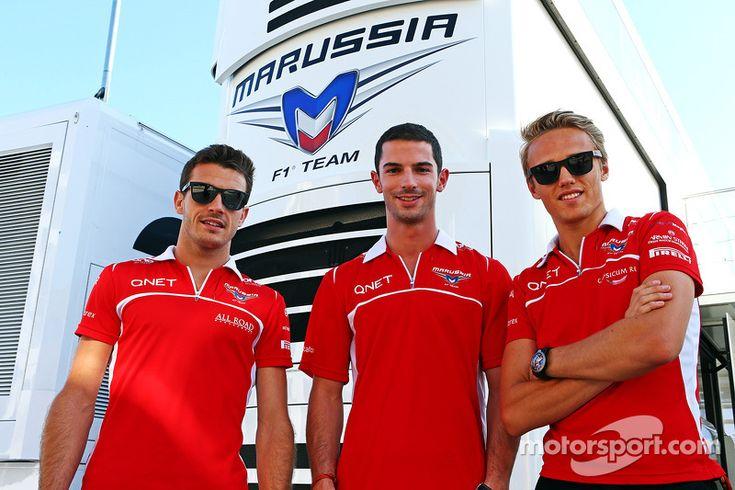 Jules Bianchi, Marussia F1 Team with Alexander Rossi, Marussia F1 Team Reserve Driver and Max Chilton, Marussia F1 Team