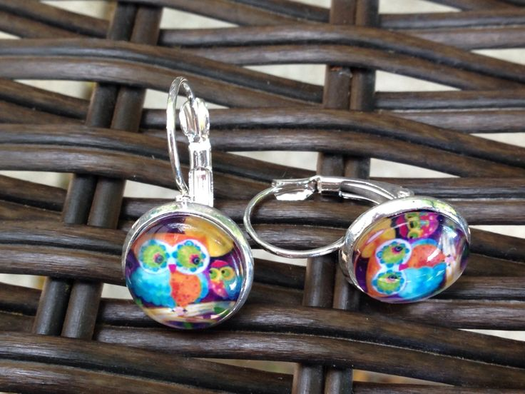 Multi Color Owl Earrings - 12mm - Dangle, Stud or Lever Back - pinned by pin4etsy.com