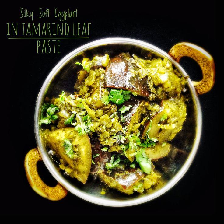 Silky Soft Eggplant in Tamarind Leaf Paste | Brinjal with Tender Tamarind Leaves