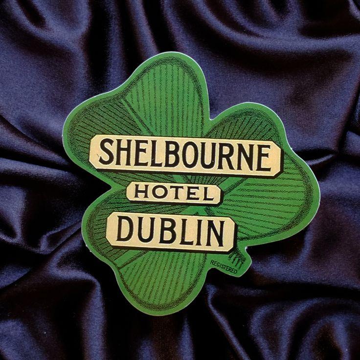 "#2347 Shamrock Shelbourne Hotel Dublin Ireland 3x3"" Retro Stamp style Luggage Label Sticker - DecalStar.com"