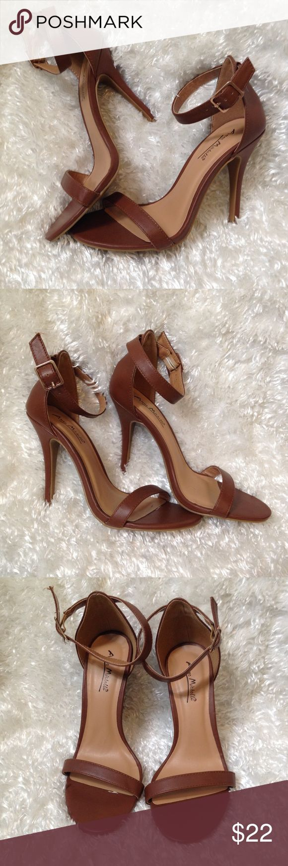 """Brown Strappy Sandals Heels Brown sandals with ankle straps, 4.5"""" heels, very little wear. One scuff on back of a heel and one scratch in toe area as shown. Anne Michelle Shoes Heels"""