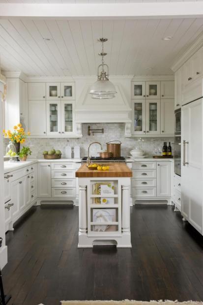 Kitchen IdeasKitchens Design, Dreams Kitchens, Butcher Block Island, Kitchens Ideas, Kitchens Islands, Kitchen Islands, White Cabinets, Block Islands, White Kitchens