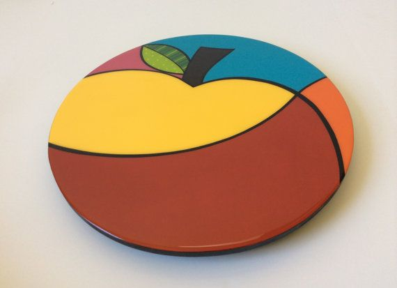 Lazy Susan handmade , painted wood, modern fruits
