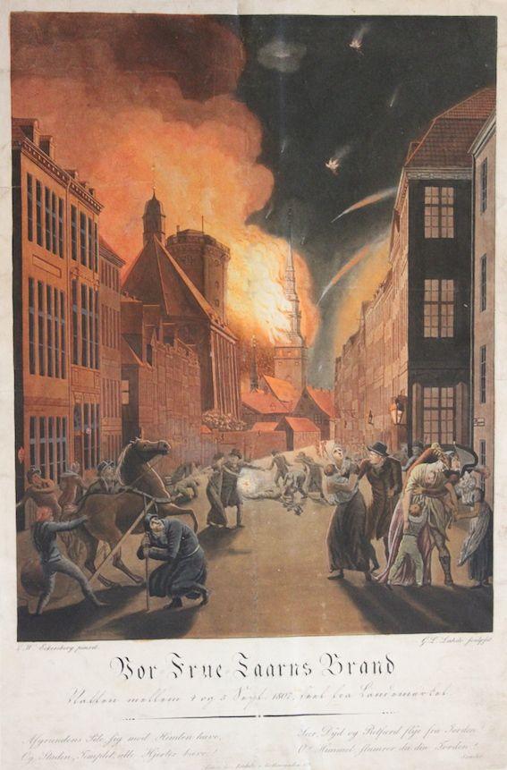 """Vor Frue Taarns Brand"" af Christoffer Wilhelm Eckersberg."