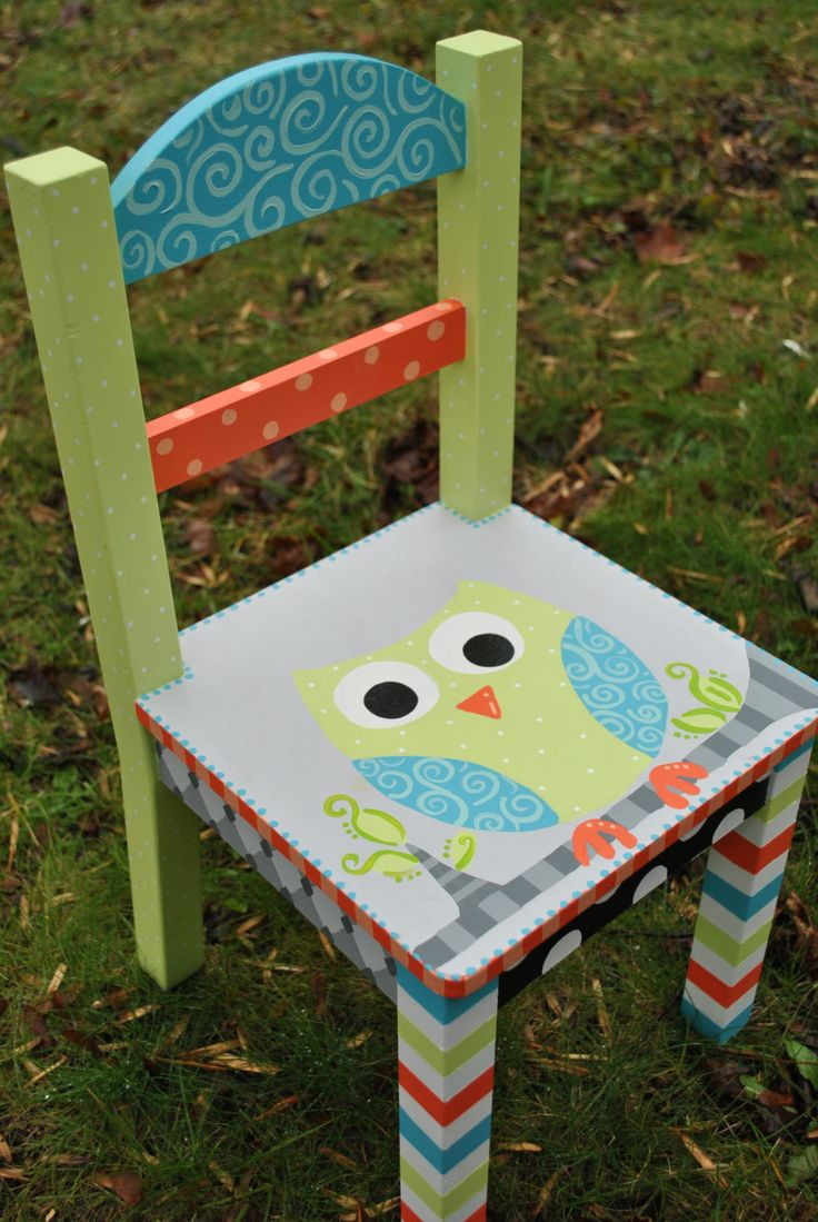 Small Childrens Chair, Chair, Childrens Furniture, Timeout Chair, Childs Chair, Owl Chair, Decorative Chair, Childrens Bedroom Furniture by TheDecorativeBrush on Etsy