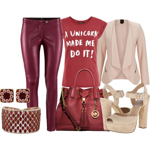 Leather pants by andreabarria on Polyvore featuring SELECTED, Steve Madden, Michael Kors and Mark Davis