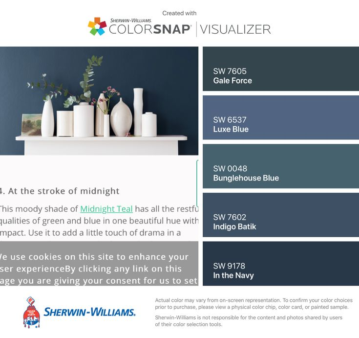 I found these colors with ColorSnap® Visualizer for iPhone by Sherwin-Williams: Gale Force (SW 7605), Luxe Blue (SW 6537), Bunglehouse Blue (SW 0048), Indigo Batik (SW 7602), In the Navy (SW 9178).