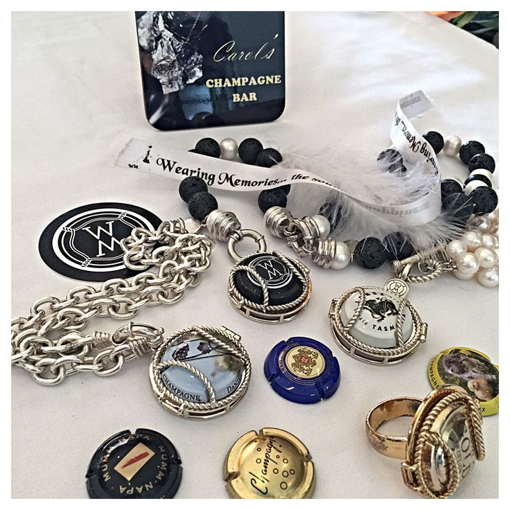 champagne capsule jewellery holds the bubbly memories. The lockets are interchangeable. #champagne #sparklingwine #cava #prosecco wine.  carol@wearingmemories.com