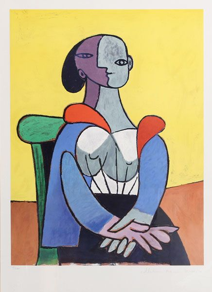 Title: Femme a la Chaise sur Fond Jaune Year of Original: 1937 Year of Publication: 1979-1982 Medium: Lithograph on Arches Paper Edition: 500, 34 AP's Image Size: 22 x 16 inches Size: 29 x 22 in. (73.66 x 55.88 cm) Ref #: 9-C