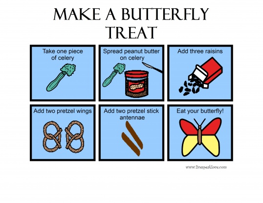 Make a Butterfly Treat! Target a variety of language skills with a fun, edible recipe. Use celery, peanut butter (or cream cheese,) raisins, and pretzels! Free picture recipe to download.