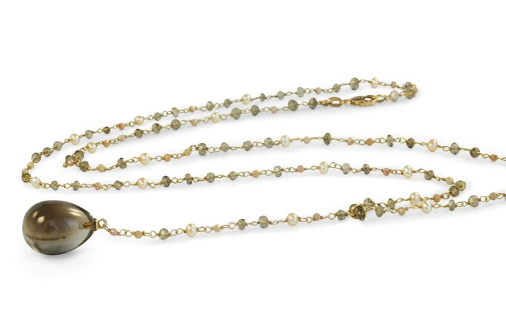 18 ct rose gold smoky quartz, labradorite and small pearl necklace