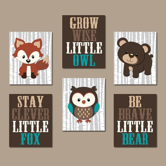 WOODLAND Nursery Wall Art, Woodland Decor, Birch Wood, Forest Animals, Carter Forest Friends, Owl Fox Bear, Canvas or Prints Set of 6 Quotes