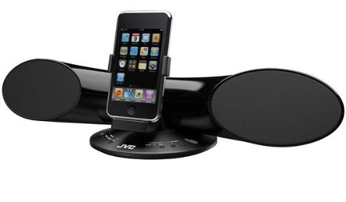 JVC XS-SR3J Personal Ipod Dock with Speakers (Black). Vertical/Horizontal Rotational Dock for iPod for Audio and Video Playback. Surround Sound for Portable Game Consoles with Analog Audio in/Digital Audio in (2ch). Quality Sound Speakers with Neodymium Magnets. 5W Total Power (2.5W x 2). ipod Surround Sound Speaker Dock. Vertical /Horizontal Rotatinal Dock for ipod. Dolby Virtual Surround Sound. DSP Front Surround. 5 watt total / Analog In.