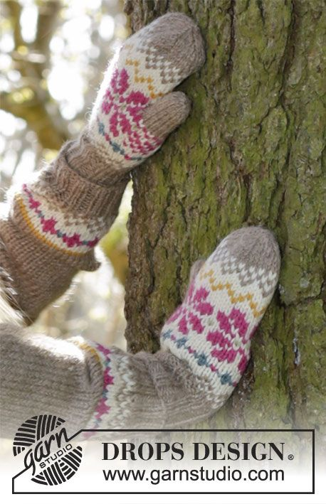 Prairie Fairy Mittens by DROPS Design. Free knitting pattern