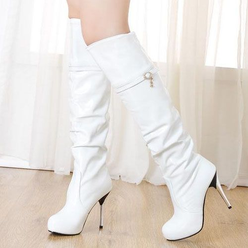 Fashion Winter PU Round Toe Stiletto Super High Over the Knee Cavalier White Boots_Boots_Shoes_LovelyWholesale | Wholesale Shoes,Wholesale Clothing, Cheap Clothes,Cheap Shoes Online. - LovelyWholesale.com