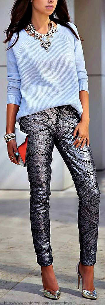 Go big with your metallics. Basic ladies need not apply. However, add some class to mega metal statement pieces with pieces that are far less flashy. This year I will be picking up a few pairs of metallic pants that can be worn far off into the future. I don't see this trend fading quickly so hop on board ASAP.