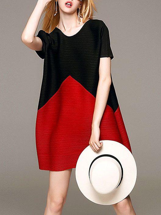 Black Color-block Crew Neck Casual Mini Dress - StyleWe.com