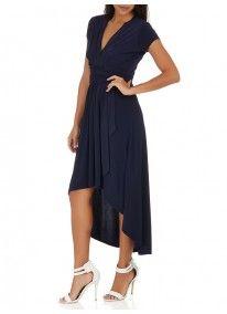 Marique Yssel | Dip Hem Mock Wrap Dress Navy