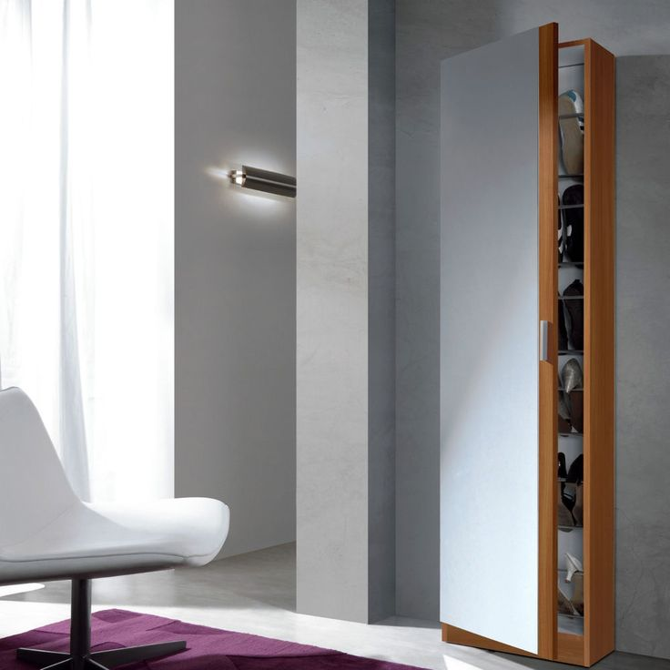 Elegant Angelo Tall Slim Shoe Storage Cabinet Mirrored Door Chestnut Wall Mountable
